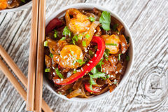 Fried rice noodles with shrimp. Fried rice noodles with shrimp - selective focus Royalty Free Stock Photos