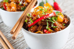 Fried rice noodles with shrimp. Fried rice noodles with shrimp - selective focus Royalty Free Stock Photography
