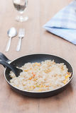 fried rice in pan stock image