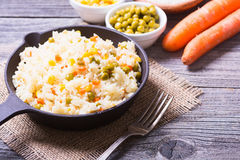 Fried rice in pan Royalty Free Stock Photos