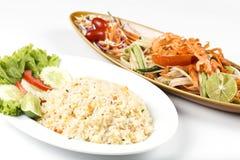 Fried rice and Papaya salad Stock Photography
