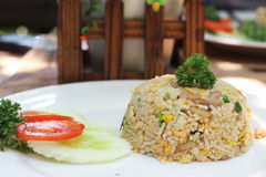 Fried rice. With pock and egg Royalty Free Stock Images