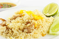Fried Rice. Fried  rice with pork ,egg and palm oil Royalty Free Stock Photos