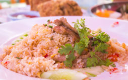 Fried rice with pork. And eggs Royalty Free Stock Photos