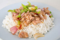 Fried rice with pork and paprika Royalty Free Stock Images
