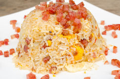 Fried rice with pork sausage. Fried rice with pork thai sausage Stock Photos