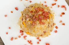 Fried rice with pork sausage Stock Photos