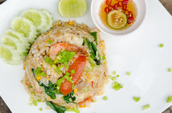 Fried rice. With pork and shrimp Stock Images