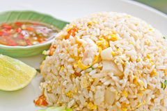 Fried rice with pork, Thai cuisine Royalty Free Stock Photo