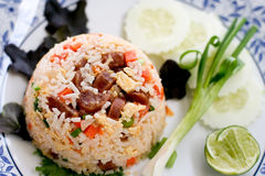 Fried rice. With pork in Thai style which can be found in local Thai restaurant Royalty Free Stock Images
