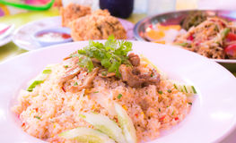 Fried rice with pork. Vegetable and eggs Stock Photo