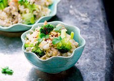 Fried rice with pork, vegetables and eggs. Royalty Free Stock Photo