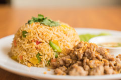 Fried rice with pork Stock Photos
