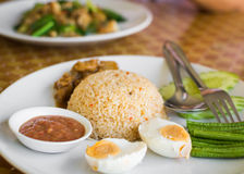 Fried rice with pound chili and shrimp paste Royalty Free Stock Image