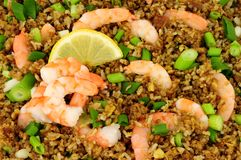 Fried Rice With Prawns Background Royalty Free Stock Photography