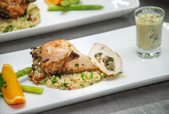 Fried rice with roasted chicken Royalty Free Stock Photos
