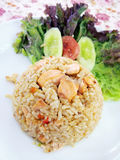 Fried rice salmon. Royalty Free Stock Photo