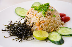 Fried rice with salmon. And vegetable Royalty Free Stock Photography