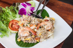 Fried rice with salted egg and shrimp Royalty Free Stock Photography