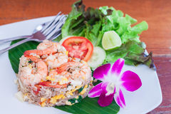 Fried rice with salted egg and shrimp Stock Image