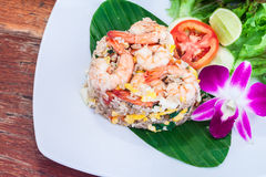 Fried rice with salted egg and shrimp Royalty Free Stock Photos