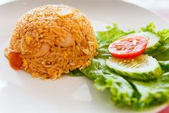Fried Rice with Sausage. On white dish Royalty Free Stock Photo
