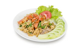 Fried rice with sausage isolated on white background Royalty Free Stock Photo