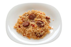 Fried rice with sausages Royalty Free Stock Images