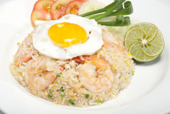 Fried rice with seafood. And Fried egg Royalty Free Stock Image