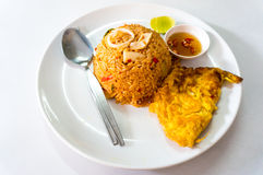 Fried rice seafood on white dish Stock Photography
