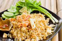 Fried rice with shrimp. Fried rice with shrimp, vegetables of various kinds royalty free stock photo