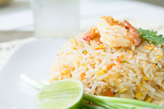 Fried rice with shrimp. Asia food , fried rice with shrimp ,easy and delicious food Royalty Free Stock Photos