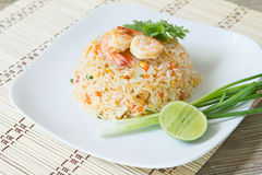 Fried rice with shrimp. Asia food , fried rice with shrimp ,easy and delicious food Royalty Free Stock Photography