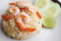 Fried rice with shrimp close up. Asian food Stock Photography
