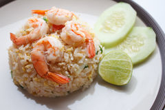 Fried rice with shrimp. And cucumber stock photo