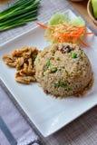Fried rice with shrimp paste and fried mackerel Stock Photo
