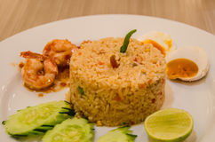 Fried rice with shrimp paste Stock Photography