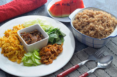 Fried rice with shrimp paste Stock Photo