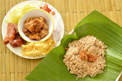 Fried rice with shrimp paste and side dish prepare to mixed Royalty Free Stock Photography