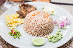 Fried rice with the shrimp paste Stock Photos