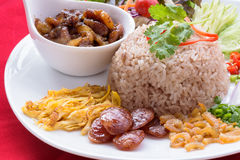 Fried rice with shrimp paste. Fried rice is a thai food ,eat with many kinds of food accessary Stock Photo