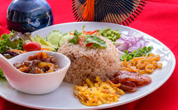 Fried rice with shrimp paste. Fried rice is a thai food ,eat with many kinds of food accessary Stock Image