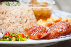 Fried rice with Shrimp paste, Thai style food Royalty Free Stock Images