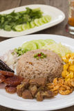 Fried rice with Shrimp paste, Thai style food Stock Photos