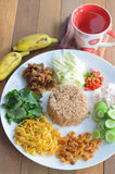 Fried rice with shrimp paste Stock Images