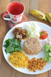 Fried rice with shrimp paste Royalty Free Stock Photography