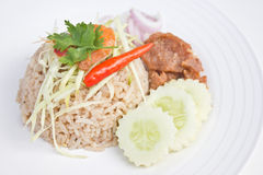 Fried rice with shrimp paste. Fried rice with shrimp paste on white plate Royalty Free Stock Photography