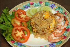 Fried rice with shrimp on the plate.  Stock Images