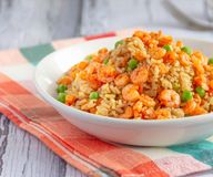 Fried Rice with Shrimp - Popular Chinese Food. Shrimp Fried Rice Served in a White Bowl Square Photo royalty free stock image