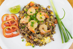 Fried rice with shrimp Stock Image